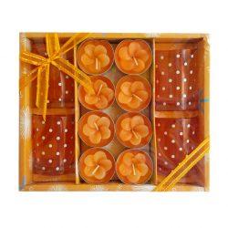 Set cadou 8 lumanari Orange Flowers