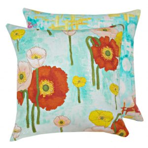 Fata de perna decorativa 40x40cm Gathered Poppies Aqua