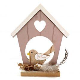 Casuta decorativa din lemn cu pasare Little Bird House