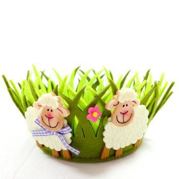 Cos decorativ rotund de Pasti Happy Sheep