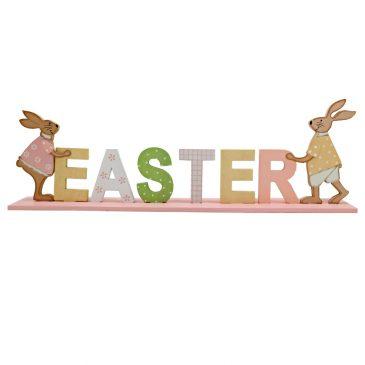 Decoratiune de Pasti din lemn cu iepuri si litere 3D Easter
