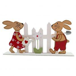Decoratiune de primavara din lemn cu iepuri