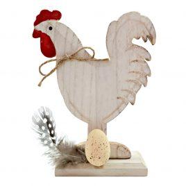 Gainusa decorativa din lemn Rustic Chicken