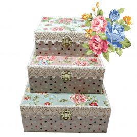 Set de cutii 3 in 1 handmade din lemn Vintage Floral