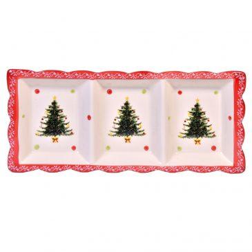 Platou cu 3 compartimente Vintage Christmas Tree