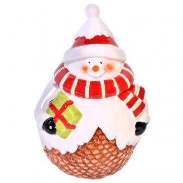 Recipient cu capac pentru bomboane Craciun Snowman
