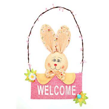 Decoratiune Pasti pentru usa cu Iepuras Welcome