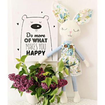 Iepuras handmade cu salopeta Mr Bunny